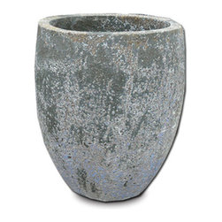 """18KARAT - 21"""" Pangaea Egg Vase - With surfaces that are eroded like they have been buried since the beginning of time, these planters are a blend of stoneware and earthenware and have been twice fired to ensure frost resistance."""