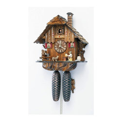 Schneider Cuckoo Clocks - 8-Day Black Forest House Handlaid Cuckoo Clock - Chalet style. Moving beer drinker. Dog and squirrel. 8-day rack strike movement. Cuckoo calls and strikes every half and full hour. Individual hand laid shingles. Wooden cuckoo, dial with roman numerals and hands. Shut-off lever on left side of case silences strike, call and music. Made from wood. Hand painted flowers finish. Made in Germany. 10.4 in. W x 7.5 in. D x 12.2 in. H (12 lbs.). Care Instructions
