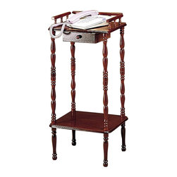 Coaster - Coaster Accent Stands Telephone Stand with Drawer and Shelf in Cherry - Coaster - Accent Tables - 3309 - Bring a look of charm and authenticity to your living room with this traditional crafted telephone stand. The bottom shelf and top are ideal places to display some of your favorite collectibles and keepsakes. Between the decorative top rails, and thin turned spindle legs, this piece is sure to add a vintage feel to your home. This table stand is finished in a warm cherry finish.