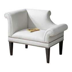 """Uttermost Fontaine White Linen Armchair - Left side facing armchair styled in understated elegance of regency period. Tailored seat is covered in parchment linen blend with individually hammered, brass nails. White mahogany solid-wood frame with legs finished in weathered black with natural wood undertones. Styled in understated elegance of the regency period, tailored seat is covered in parchment, linen blend with individually hammered, brass nails. White mahogany solid wood frame with legs finished in weathered black with natural wood undertones. Seat height is 19"""". Coordinating chair is #23057."""
