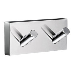 Smedbo - House Double Towel Hook in Polished Chrome Finish - Concealed fastening. 3.5 in. W x 1.75 in. H