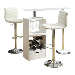 Adarn Inc - Glass Top 3 PC Stemware Storage Wine Rack Bar Table/Stools Set, White - Add this versatile and modern piece to any entertaining space. This contemporary bar table set features a wine rack that stores up to 12 bottles of wine plus stemware storage. The modern design includes a sturdy tempered glass table top. It is finished in black or white high gloss with a chrome base. Each barstool offers adjustable height seating and is manufactured with a durable steel construction with a high polished chrome finish. Upholstered in durable leather-like vinyl.