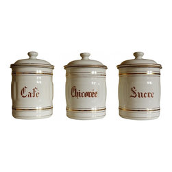 French enamelware canister - This set of French enamelware canisters is in absolutely excellent condition from the early 1900s. There are a few tiny spots where the enamel has chipped away, The set has lots of gold pin striping that is mostly still in really good shape (shiny) and brown lettering.