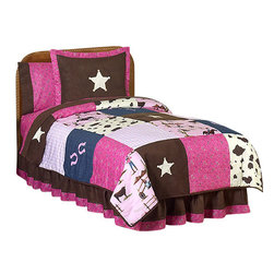 Sweet Jojo Designs - Western Cowgirl Children's Bedding Set Twin (4-Piece) - The Sweet Jojo Designs Western Cowgirl Children's Bedding Set has everything you need for your little cowgirl. This striking children's bedding set uses a collection of exclusive Jojo designer Prints. The coordinating fabrics include 100% cotton Jojo Pink, brown and blue cowgirl Print fabric, brown and cream cow Print, Pink bandana Print, denim, and chocolate Microsuede. Detailed with embroidered horseshoes and sheriff stars, this set will create a western theme room that your little cowgirl is sure to enjoy. This set uses 100% cotton fabrics that are machine washable for easy care. It is available in twin and Queen sizes. The twin bedding set is a 4-piece set that comes with a comforter, pillow sham, bed skirt, and window valance. The Full/Queen bedding set is a 3-piece set that comes with a comforter and 2 pillow shams.