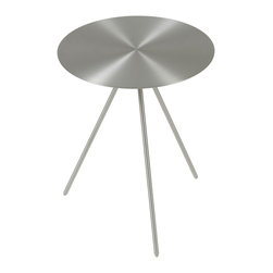 Eurostyle - Faith Side Table-Brushed - The sleekness has landed. This stellar table calls to mind a retro-movie flying saucer, paying a visit to your space. After gazing at its polished surface and slender tripod base, you'll never want it to leave.
