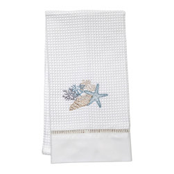 Jacaranda Living - Waffle Weave Guest Towel - Waffle Weave Guest Towel trimmed with ladder lace and cotton percale, embroidered with a Shell Collection in Beige and Duck Egg Blue. Made by Zulu women in South Africa