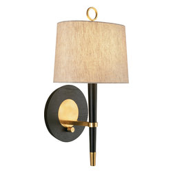 Robert Abbey - Jonathan Adler Ventana Wall Sconce,Antique Brass - This stylish wall sconce is all about contrasts: The natural textures of linen and wood grain, combined with smooth black finish and glossy brass or nickel accents,