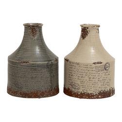 Stylish and Vintage Themed, Set of 2 Ceramic Vases - Description: