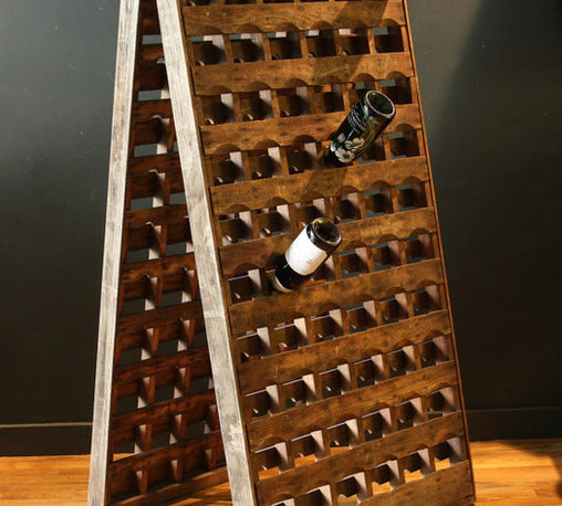 French Riddling Wine Rack 120 bottles Double Panel by sevenbc - I love this wine rack.  It's beautiful and almost serves as a piece of art.  Primitive and handmade with a modern feel to it.  I would love this for my dining room.