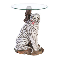 "Koehler Home Decor - Koehler Home Decor White Tiger Accent Table - A rare white tiger is captured in all his beauty and might, forming a stunning sculptural base for furnishing of singular distinction. Each detail of this stately statue is lovingly rendered for absolute lifelikeness, a perfect portrait of this magnificent predator at the height of his power and grace. Place this dramatic accent table in a place of pride within your home and be the envy of every collector. Polystone base with tempered glass top. 19"" diameter x 23.5"" high.Polystone base with tempered glass top. Size: 19"" diameter x 23.5"" high."