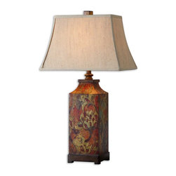 Uttermost - Uttermost Colorful Flowers Table Lamp 27678 - Colorful flower print with burnished walnut finished details. The rectangle bell shade is an ivory linen fabric.