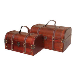 Decorative Wood Treasure Box - Wooden Trunk Chest Set of 2 - Decorative trunk that is great for storage and decoration Great Tressure Box Small wood trunk Old Fashioned hardware adds to antique look Our warm and welcoming steamer trunk brings back days of old time. Remember how excited you are when you were a little kid to look into your grandma's old chest, our decorative trunks will bring back those memories and help you create some new ones too. Our hope chest boxes are all handcrafted and tailored to enhance the existing decor of any room in the home. Great to use for your very own treasure chest!