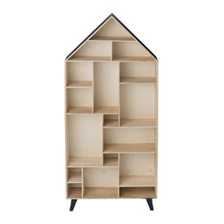 "Imported - Wood House Bookcase - Wood House Bookcase. Wood Veneer. Wood & Black. Measures 31"" x 7.4"" x 65"" Imported."
