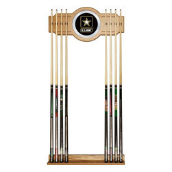 Trademark Global - U.S. Army Billiard Cue Rack w Mirror - Holds upto eight cues. 10.5 in. Dia. and 8 in. full color logo on mirror. Made from wood. Veneered oak finish. No assembly required. Base: 28 in. W x 3 in. D x 3.12 in. H. Top: 28 in. W x 1.75 in. D x 13.25 in. H. Overall: 13 in. W x 4 in. D x 30 in. H (9 lbs.)You have a great pool table and all the accessories, but you cant walk through your game room without tripping over pool cues. Why not treat yourself to this officially licensed high-end furniture grade cue rack. Protect your cue tips along with the pictures on the wall while supporting one of your favorite teams. There will be no more looking around the room to find the break stick with this officially licensed cue rack on your wall.