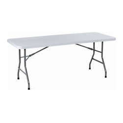 BOSS Chair - Large Size Folding Table w Light Gray Plastic - Plastic and steel construction. Provides strength, stability, and is very lightweight. Plastic molded table surface won't stain, chip, warp, or crack. Ergonomically designed handholds along edges for ease of handling. Leg locking mechanism holds legs closed during storage and transport. Surface color: light grey. Leg color: Black paint. Base/wood: Grey/Black. Overall dimension: 30 in. W x 96 in. L. Weight capacity: 1000 lbs