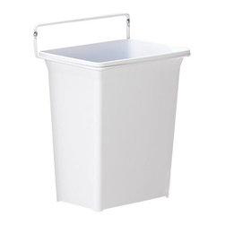 "KV Kitchen & Bath Storage - Door Mounted Waste Bin in White - Door Mounted Waste Bin.  1 - 9 qt. Bin.  Fits 12"" (30- 48 cm) min. wide opening.   Plastic Component Finish-White.  Metal Component Finish-White. 11-1/4 in. H x 9-5/8 in. W x 6-7/8 in. D"
