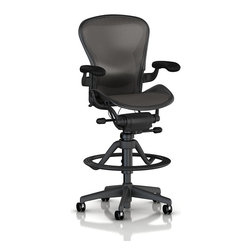 Herman Miller - Aeron Stool - High Height - Were you looking for something a little taller? Perfect for office or home, this height-adjustable and comfortable stool is a godsend and features superior ergonomics, including adjustable height and foot ring options. Now sit back and relax ... ahh.
