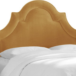 Skyline Furniture MFG. - High Arch Border Headboard in Mystere Moccasin - There's no such thing as too luxe a bedroom. Glamorize your space with this decadent arched headboard for an unforgettable splash of style. Upholstered in rich velvet, the classic high arch frames your mattress for soft and inviting look that's certain to enhance your beauty sleep. Just add silk sheets and a fluffy duvet.