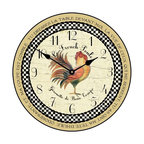 "Tyler - Le French Rooster Clock, Tan Rim, 18"" - Made In USA-Made When Ordered"