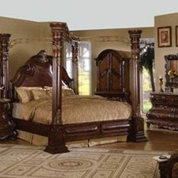 McFerran Home Furnishings - The St Germain Canopy Bed Set in dark brown cherry f - Solid wood construction with wood veneers