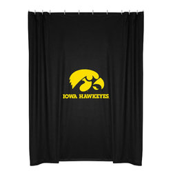 Sports Coverage - NCAA Iowa Hawkeyes College Bathroom Accent Shower Curtain - Features: