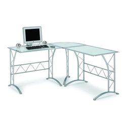New Spec - Workstation Table - Color/Finish: Frosted/Silver. Material: Tempered Glass/Metal. . 59.06 in. L x 23.62 in. W x 29.73 in. H (78 lbs)
