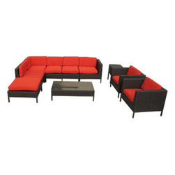 "LexMod - La Jolla 9 Piece Outdoor Patio Sectional Set in Espresso Red - La Jolla 9 Piece Outdoor Patio Sectional Set in Espresso Red - Shine with hidden brilliance with this powerful force of an outdoor living arrangements. Finely constructed espresso rattan seating sectionals with all-weather red fabric cushions give a sense of space and roominess that allow for true flexibility and comfort. Aim higher and give thanks and appreciation to picture perfect days spent outside. Set Includes: One - La Jolla Outdoor Wicker Patio Armless Chair One - La Jolla Outdoor Wicker Patio Coffee Table One - La Jolla Outdoor Wicker Patio Corner Section One - La Jolla Outdoor Wicker Patio Left Arm Section One - La Jolla Outdoor Wicker Patio Loveseat One - La Jolla Outdoor Wicker Patio Ottoman One - La Jolla Outdoor Wicker Patio Side Table Two - La Jolla Outdoor Wicker Patio Armchairs Synthetic Rattan Weave, Powder Coated Aluminum Frame, Water & UV Resistant, Machine Washable Cushion Covers, Easy To Clean Tempered Glass Top, Ships Pre-Assembled Overall Product Dimensions: 113""L x 105""W x 28""H Left Arm Section Dimensions: 35""L x 31""W x 28""H Corner Section Dimensions: 31""L x 31""W x 28""H Armless Chair Dimensions: 28""L x 31""W x 28""H Coffee Table Dimensions: 47""L x 28""W x 13""H Side Table Dimensions: 18""L x 18""W x 24""H Armchair Dimensions: 35""L x 31""W x 28""H Loveseat Dimensions: 47""L x 31""W x 28""H Ottoman Dimensions: 31""L x 31""W x 13""H Armrest Dimensions: 3""W x 14.5""HBACKrest Height: 14.5""H Cushion Thickness: 3""H Seat Height: 13""H - Mid Century Modern Furniture."
