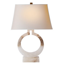 Large Ring Form Table Lamp - Modern lighting is a great way to infuse a room with style and personality. Just a touch of alabaster is a perfectly glamorous contrast to a natural paper shade. Place this on your office desk or next to a sofa for warm glow.