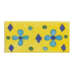 "Knobco - Tiles 2x4"", Turquoise & Blue Flowers & Green, Turquoise dots w/ Yellow base - Turquoise and Blue Flowers and Green, Turquoise dots with Yellow base Tiles from Jaipur, India. Unique, hand painted tiles for your kitchen or other tiling project. Tile is 2x4"" in size."