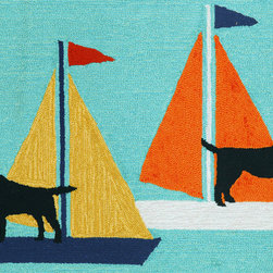 """Trans-Ocean - 20""""x30"""" Frontporch Sailing Dogs Blue Mat - Richly blended colors add vitality and sophistication to playful novelty designs.Lightweight loosely tufted Indoor Outdoor rugs made of synthetic materials in China and UV stabilized to resist fading.These whimsical rugs are sure to liven up any indoor or outdoor space, and their easy care and durability make them ideal for kitchens, bathrooms, and porches. Made in China."""