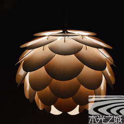 2014 latest wood lamp designs - It is a very beautiful design, the pendant is made from real wood veneer.