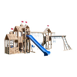 """CedarWorks - CedarWorks Frolic 11 Swingset - My kids are older and fairly tall, do you have something for them? Frolic 11 sure does. It features structures with swings at a higher height and the roofs are a foot higher so there is tons of headroom inside the structure for everyone to stand up. But don't worry if your kids are younger, they'll grow up right before your eyes and love having those higher swings and extra headroom when they are """"big kids"""" too! Assembly is required."""