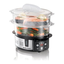 Hamilton Beach - Hamilton Beach - 2-Tier Digital Steamer w Ric - Designed for more cooking options. Two tiers with removable divider - use the divider to separate the tiers or remove it for large foods. Switches to warm when food is ready. Fits corn on the cob or a head of broccoli. Steams delicate fish, lobster & shrimp. Cooks eggs upright from soft-cooked to hard-boiled. Includes rice bowl which is perfect for rice or small foods. Digital touchpad makes setting the countdown timer and other functions easy. Nested storage