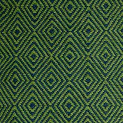 Hook & Loom Rug Company - New Ashford Denim/Green Rug, Denim/Green, Swatch - Very eco-friendly rug, hand-woven with yarns spun from 100% recycled fiber.  Color comes from the original textiles, so no dyes are used in the making of this rug.  Made in India.