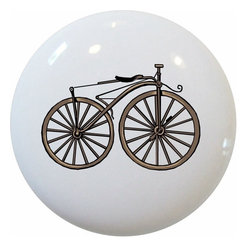Carolina Hardware and Decor, LLC - Vintage Bicycle Ceramic Cabinet Drawer Knob - New 1 1/2 inch ceramic cabinet, drawer, or furniture knob with mounting hardware included. Also works great in a bathroom or on bi-fold closet doors (may require longer screws). Item can be wiped clean with a soft damp cloth. Great addition and nice finishing touch to any room!