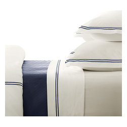 Willowest - Egyptian cotton hotel classic bedding collection, Navy Blue Embroidery on White - 100% pure long-staple combed cotton yarn with mercerized finishing for high