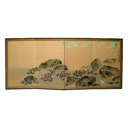 Japanese Maple Leaf Screen - Antique Japanese Meiji-period four-panel signed byobu (screen). Signature of the artist in the right corner. Painted on rice paper with a new silk border and lacquer wood frame. Circa 1900s.