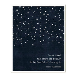 Hairbrained Schemes - Loved the Stars Too Long Art Print, Navy - Night owls know there's no reason to be afraid of the dark. This star-spangled print will make you smile all day long with its sweet design and poignant quote from English poet Sarah Williams. Frame it in silver and hang in the office for a daily dose of celestial inspiration.