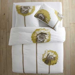 """Organic Dandelion Duvet, Stone White, Twin - Perk up your bedscape with this oversized dandelion bedding. Comes in several sizes, price shown is for twin. Organic cotton, 200-thread-count.Twin: 86""""l x 68""""w. 100% organic cotton."""