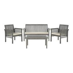 Safavieh - Safavieh Carson Grey Wash Acacia Wood 4-piece Outdoor Furniture Set - Clean and contemporary,the Carson 4-piece outdoor set recalls the simplicity of Danish furniture design.