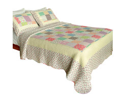 Blancho Bedding - [Sunny Travel] 100% Cotton 3PC Vermicelli-Quilted Patchwork Quilt Set Full/Queen - The [Sunny Travel] Quilt Set (Full/Queen Size) includes a quilt and two quilted shams. Shell and fill are 100% cotton. For convenience, all bedding components are machine washable on cold in the gentle cycle and can be dried on low heat and will last you years. Intricate vermicelli quilting provides a rich surface texture. This vermicelli-quilted quilt set will refresh your bedroom decor instantly, create a cozy and inviting atmosphere and is sure to transform the look of your bedroom or guest room. Dimensions: Full/Queen quilt: 90 inches x 98 inches; Standard sham: 20 inches x 26 inches.