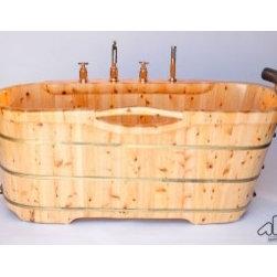 """Asian Style Bathroom - ALFI AB1136 61"""" Free Standing Cedar Wood Bath Tub with Chrome Tub Filler"""