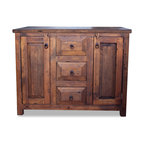 FoxDen Decor - 3 Drawer Reclaimed Wood Vanity, 36x20x32 - A gorgeous barn wood vanity hand crafted from 100% Mexican barn wood. The old barnwood has a lot of unique characteristics which makes this vanity very unique. The wood has been sanded to a very smooth, buttery finish and a hand rubbed paste wax has been applied. The top is a smooth surface that has been sealed to protect the wood from water damage.