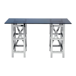 Kathy Kuo Home - Irving Modern Industrial Loft Glass Silver Metal Desk - Limited Quantities.