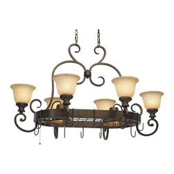 Golden Lighting - Golden Lighting 8063-PR62 BUS 8 Light Pot Rack - Transitional style with simple scrolls creates a timeless look