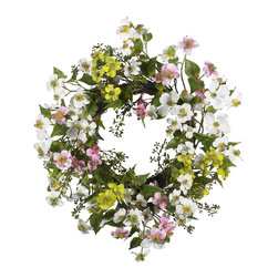 Nearly Natural - Nearly Natural 20 inches Dogwood Wreath - Few flowers can provide the soft beauty like the dogwood. There's just something 'warm and sunny' about these magnificent flowers. And this dogwood wreath perfectly captures that feeling. A full 20' in diameter, the whites, greens, pinks, and yellows mix hypnotically to provide a breath of fresh air that says 'springtime' all year round'! Perfect for your kitchen, sunroom, or as a gift for that 'sunny' person in your life.