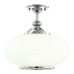 "Hudson Valley - Country - Cottage Hudson Valley Canton Polished Nickel Semi-Flush Fixture - Classic styling gives this ceiling light the look of a sophisticated antique fixture. Constructed of metal in polished nickel finish with a round white glass shade trimmed in polished nickel. Ideal for a kitchen hallway or home bar area. From Hudson Valley Lighting. Polished nickel finish metal. White glass shade. Takes one 100 watt bulb (not included). 13"" high. 15"" wide. Canopy is 5 1/2"" wide.  Polished nickel finish metal.   White glass shade.    Takes one 100 watt bulb (not included).   13"" high.   15"" wide.   Canopy is 5 1/2"" wide."