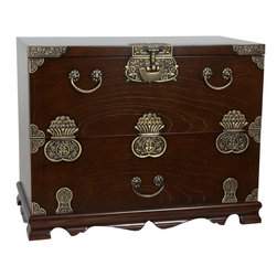 Oriental Furniture - Korean Bandaji Antique Design Blanket Chest - Stunning hand crafted Korean antique bandaji style drop front storage chest in a beautiful Elmwood finish, fitted with etched brass oriental hardware. Exceptional workmanship with classic east Asian joinery and cabinetry, built to last for generations. Traditionally placed at the foot of the bed to store linen, these elegant wooden trunks provide an authentic far eastern charm to traditional and contemporary American home decor.