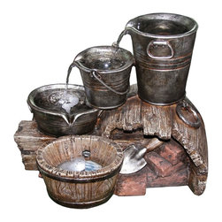 Yosemite Home Decor - Yosemite Home Decor Three-Layered Water Bucket Indoor / Outdoor Fountain - Three metal buckets of varied size allow the water to trickle down multiple spouts into a small wooden barrel at the end of the line on this Yosemite Home Decor indoor/outdoor fountain. This three-layered water bucket fountain features intricate detailing that accentuates the look of wood and metal for a more realistic appearance.