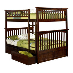 Atlantic Furniture - Columbia Full Over Full Bunk Bed / Drawers / Antique Walnut - Great sleep space and storage is what you'll get with the Columbia Full over Full Bunk 2 Flat Panel/Raised Bed with Drawers in Antique Walnut. This gorgeous deep finish will stay looking new because it's applied in a 5 step finishing process. Having a full over full bunk bed is ideal for any child that enjoys sleepovers or has a sibling that shares the room. The two roomy drawers below will provide ample storage for all the things your child wants to keep close. Pull the beds apart and use as separate full size beds in different rooms as your child grows. You'll get years of use out of this exquisite bunk bed set.